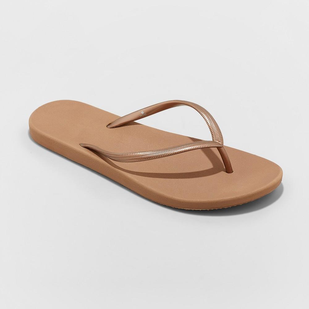 Women's Capri Flip Flop Sandals - Shade & Shore Bronze 12