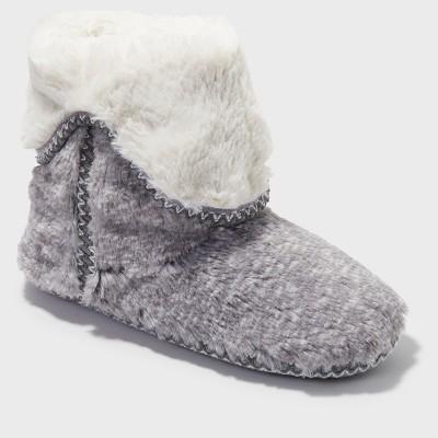 Women's Dearfoams Bootie Slippers - Gray M