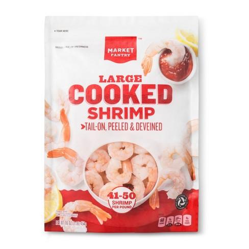 Large Cooked Shrimp, Tail-On, Peeled & Deveined - 41-50ct/16oz - Market Pantry™ - image 1 of 2