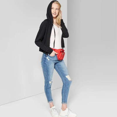 Women's Butter French Terry Zip-Up Hoodie - Wild Fable™ Black M