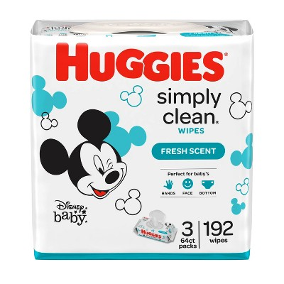Huggies Simply Clean Baby Wipes, Fresh Scent Flip-Top Packs - 3pk/192ct