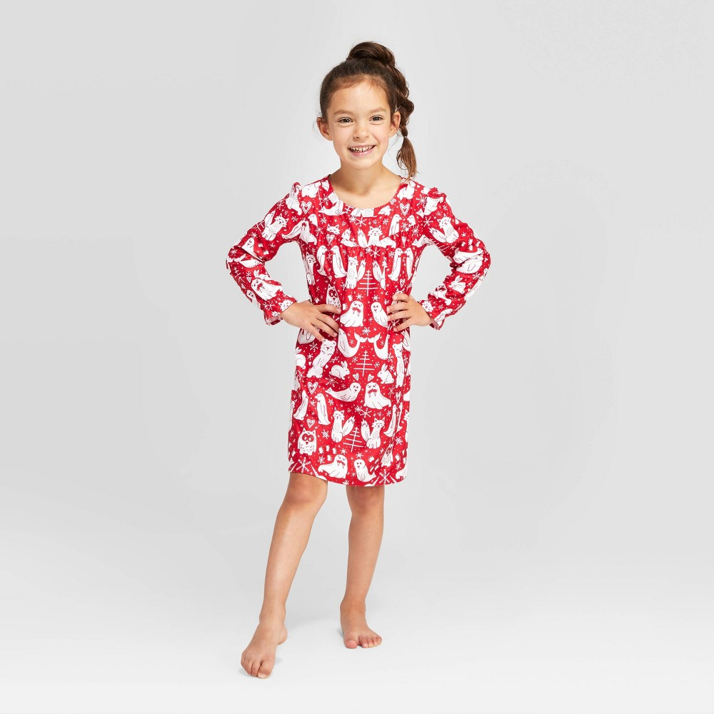 Image of Girls' Holiday Forest Animal Print Nightgown - Red 10, Girl's