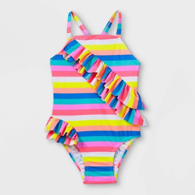 Toddler Girls' Striped Ruffle One Piece Swimsuit - Cat & Jack™ Pink