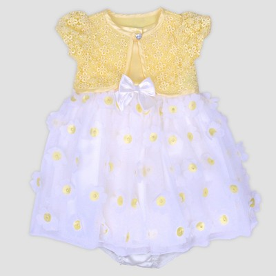 Baby Girls' Dye Cut Dress with Knot Shrug Nate & Annee™ Yellow 3-6M
