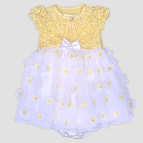 Baby Girls' Dye Cut Dress with Knot Shrug Nate & Annee™ Yellow - image 1 of 2