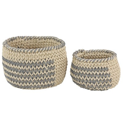 "Olivia & May 18.5""x12.5""x13.5""x10"" Set of 2 Round Mesh Over Cotton Rope Storage Baskets with No Handles"