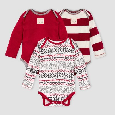 Burt's Bees Baby® Baby 3pk Organic Cotton Snowy Fair Isle Bodysuit Set - Pink 0-3M