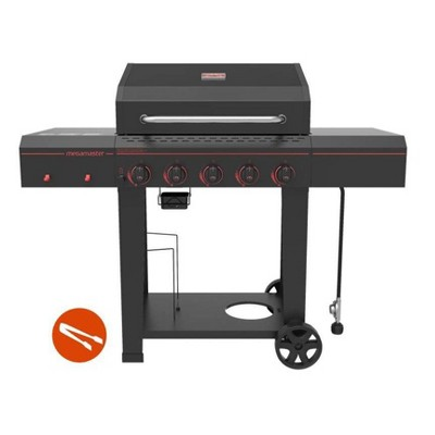 Megamaster 5-Burner Gas Grill with Stainless Steel Tong 720-0982TG