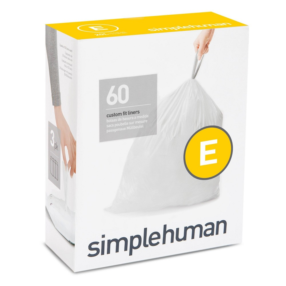 Simplehuman 20l 60ct Code E Custom Fit Trash Bags Liner White
