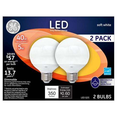 General Electric LED 40w 2Pk G25 Globe Light Bulb White - image 1 of 2
