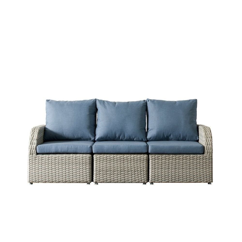 Brisbane 3pc Resin Wicker Sofa Patio with Weather Resistant Fabric - Blue - CorLiving