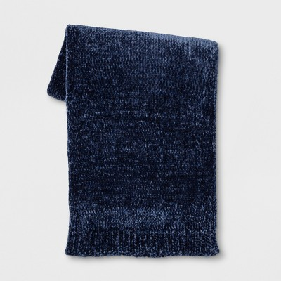 Shine Chenille Throw Blanket Navy Blue - Project 62™