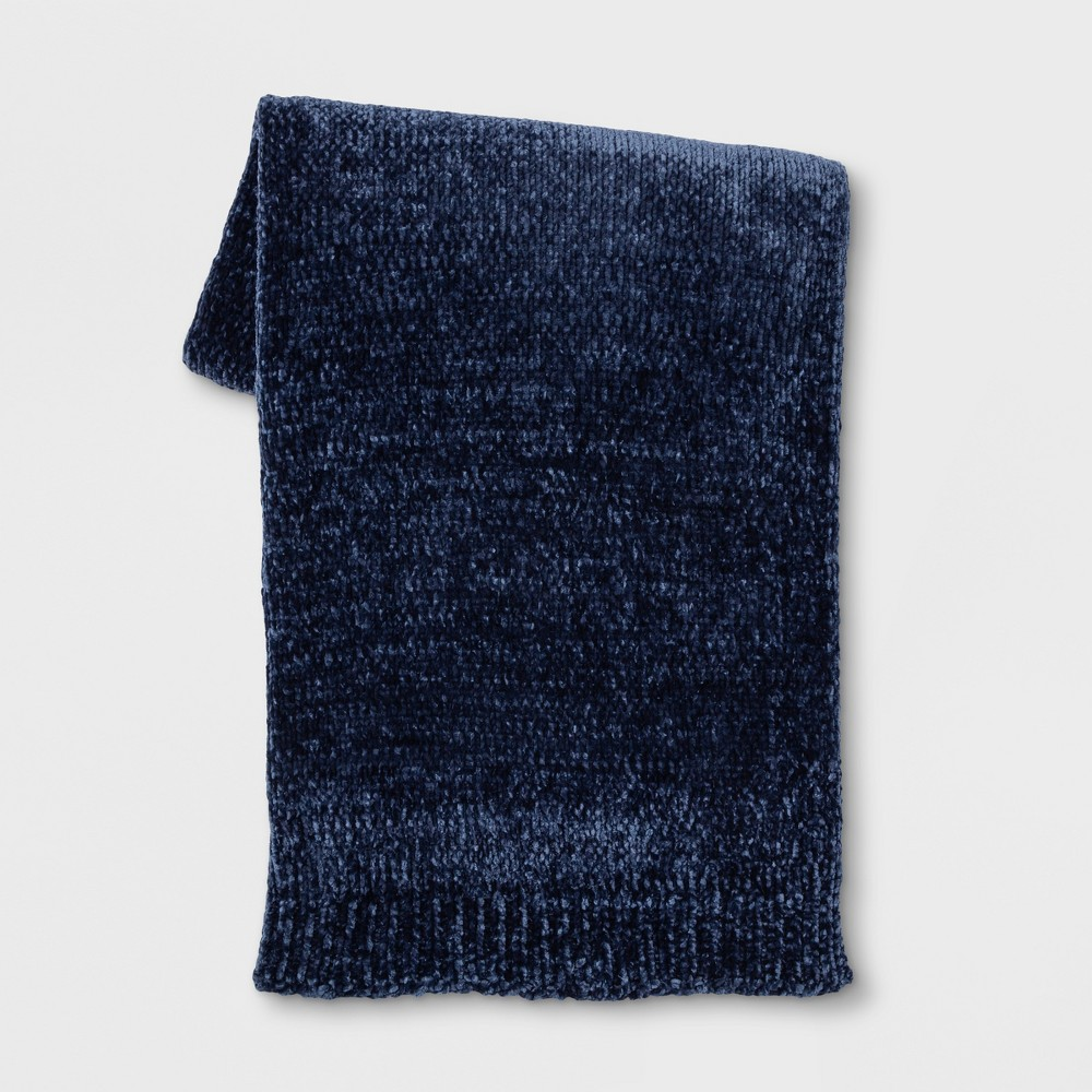Shine Chenille Throw Blanket Navy Blue - Project 62