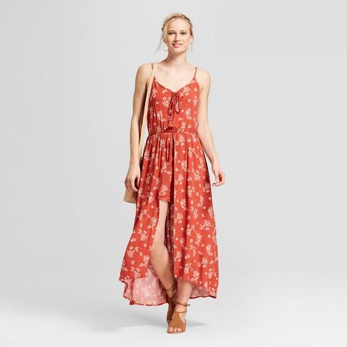 be2c90b4d0af Women s Strappy Floral Maxi Romper - Xhilaration™ Orange L   Target