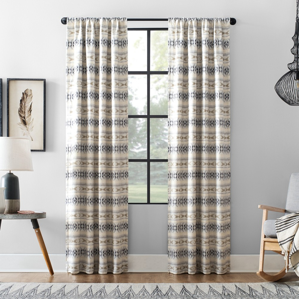 "Image of ""40""""x84"""" Ikat Stripe Cotton Blend Blackout Curtain White/Navy/Taupe - Archaeo"""