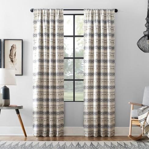 Ikat Stripe Cotton Blend Blackout Curtain - Archaeo - image 1 of 7