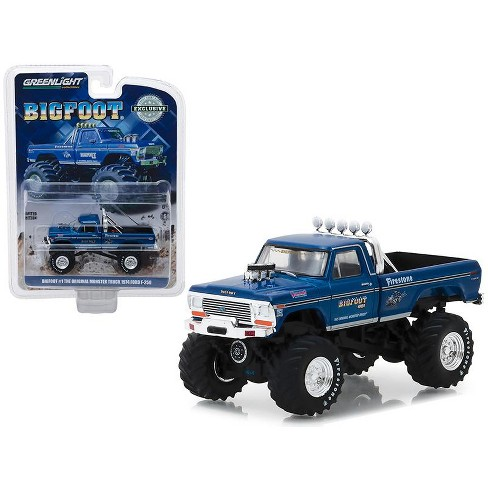 """1974 Ford F-250 Monster Truck Bigfoot #1 Blue """"The Original Monster Truck"""" (1979) 1/64 Diecast Model Car by Greenlight - image 1 of 2"""