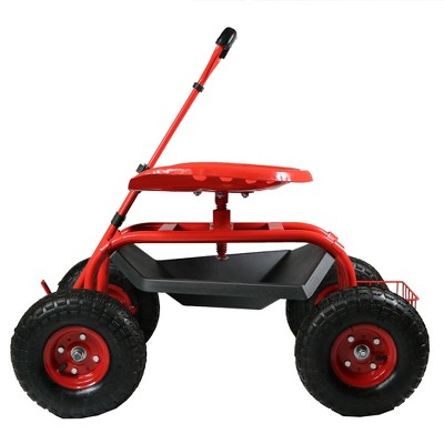 Rolling Garden Cart with Extendable Steering Handle, Swivel Seat and Basket - Red - Sunnydaze Decor