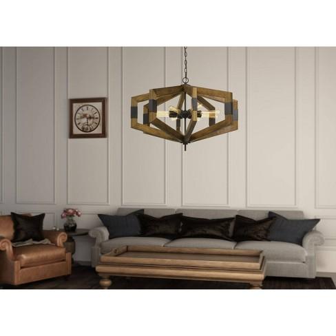 60W X 8 Varna Pine Wood Chandelier - Cal Lighting - image 1 of 1