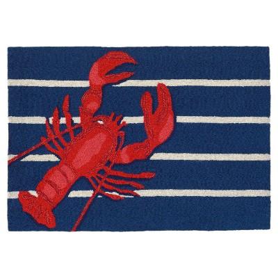 Frontporch Indoor/Outdoor Lobster On Stripes Rug 24 X36  Navy - Liora Manne