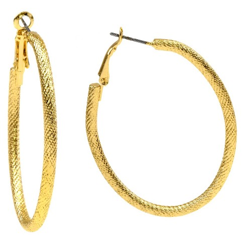 Hoop Earring with Textured Oval Clutchless - Gold - image 1 of 1