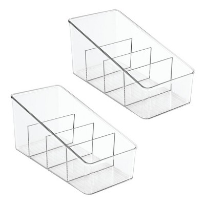 mDesign Plastic Makeup Storage Organizer for Vanity, 4 Sections - 2 Pack