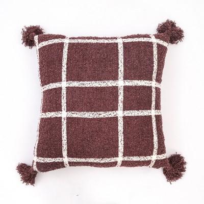 """24""""x24"""" Plaid Boucle Woven Throw Pillow Mauve - Evergrace"""