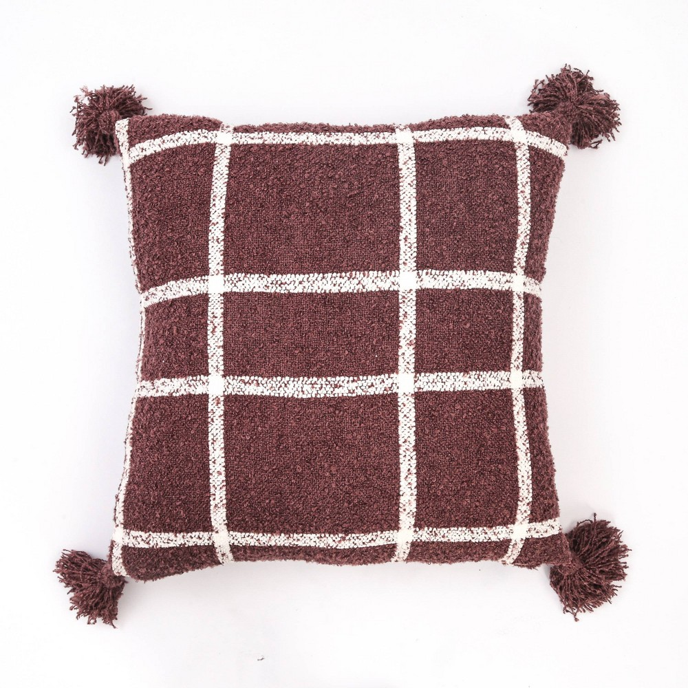 "Image of ""24""""x24"""" Plaid Boucle Woven Throw Pillow Mauve - Evergrace"""