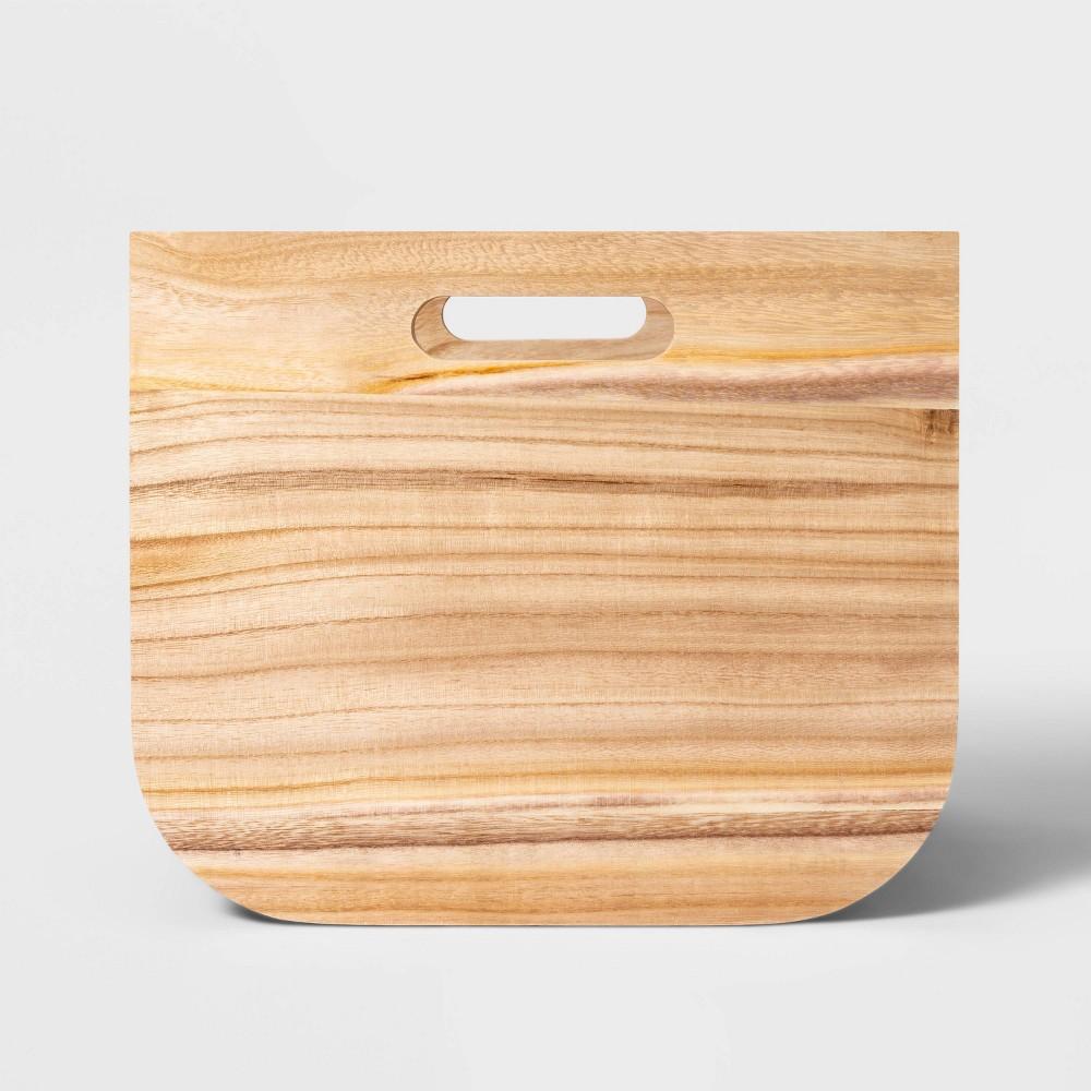 Large Paulownia Wood Bin with Fabric Sides Dark Gray 11