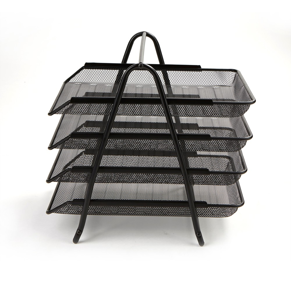 Image of 4 Tier Mesh Document Tray Black - Mind Reader