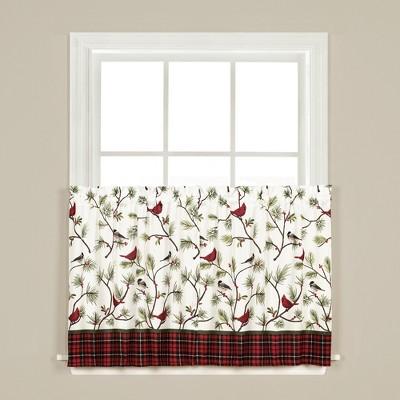 "SKL Home Winter Birds Light Filtering Tier Pair Window Curtain with 15"" Rod Pocket, Multi"