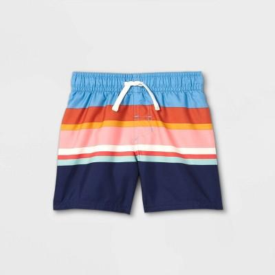Toddler Boys' Striped Swim Shorts - Cat & Jack™ Blue