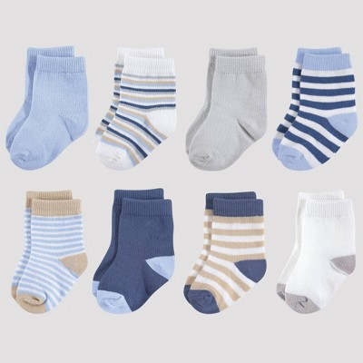 Touched by Nature Baby 8pk Organic Cotton Socks - Tan/Light Blue 0-6M