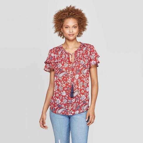 Women's Printed Short Sleeve V-Neck Blouse - Knox Rose™ Red - image 1 of 2