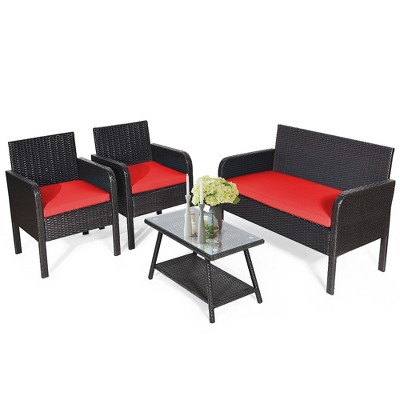 Costway 4PCS Patio Rattan Wicker Furniture Set Conversation Sofa Bench Cushioned White\ Red\Turquoise