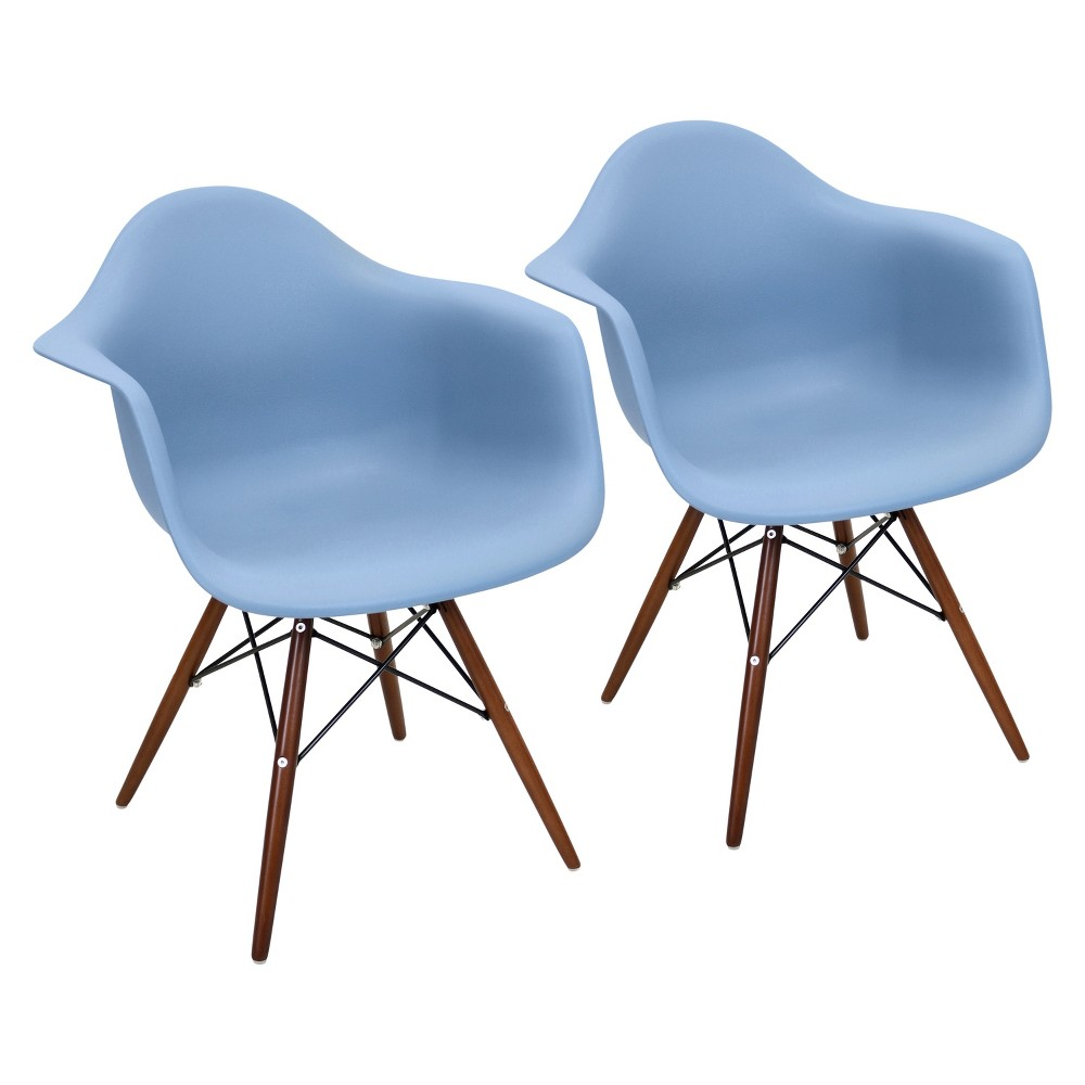 Set of 2 Neo Flair Mid Century Modern Espresso Wood Legged Dining Chair Polycarbonate/Wood - LumiSource, Blue