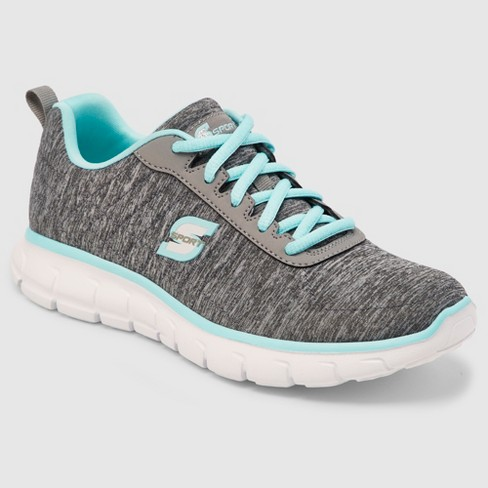 Pair brand new grey and blue Womens Skechers trainers with