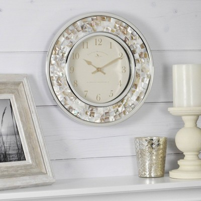 Pearl Mosaic Wall Clock Off White - FirsTime