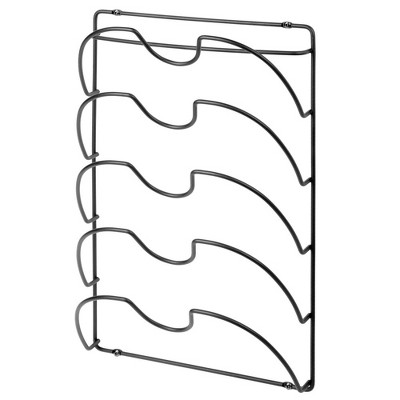mDesign Metal Pot/Pan Lid Storage Rack, Mount on Cabinet Door/Wall
