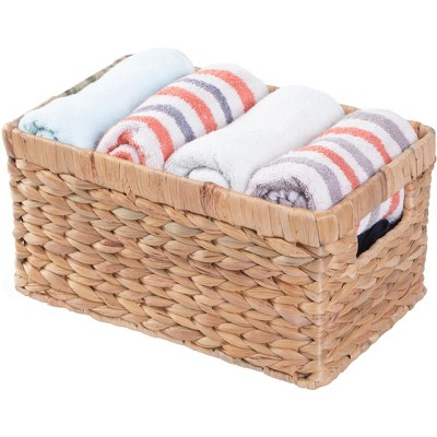 Vintiquewise Natural Woven Water Hyacinth Wicker Rectangular Storage Bin Basket with Handles, Small
