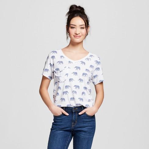 d4678f553aee Women s Elephant Printed Short Sleeve Drapey Pocket T-Shirt - Grayson  Threads (Juniors ) - White