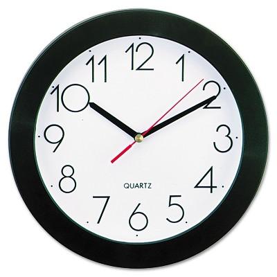 "UNIVERSAL Round Wall Clock 9 3/4"" Black 10421"