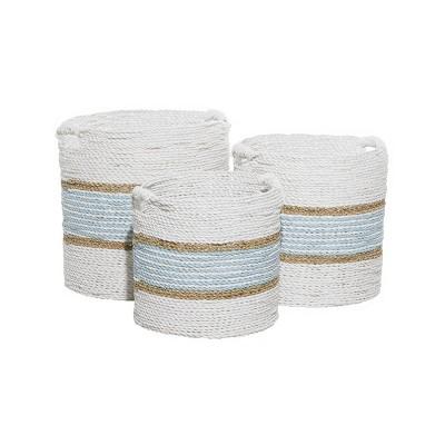 3pk Wood Coastal Storage Baskets White - Olivia & May