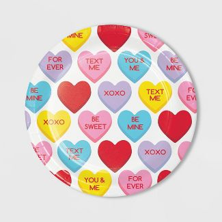 24ct Candy Hearts Valentine's Day Dessert Plates