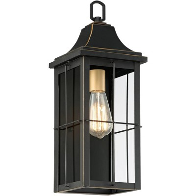 """John Timberland Traditional Outdoor Wall Light Fixture Black Warm Gold 18 1/2"""" Clear Glass Panels for Exterior House Porch Patio"""