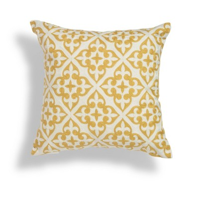 """18""""x18"""" Amber Crewel Geometric Embroidered Throw Square Pillow Gold/White - Sure Fit"""