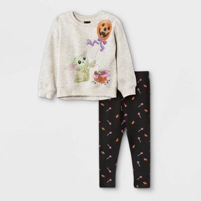 Toddler Girls' Star Wars Baby Yoda Halloween Fleece Pullover and Knit Leggings Set - Cream 12M