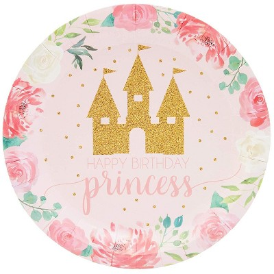 """Sparkle and Bash 80Pcs Pink Princess Castle Design Disposable Paper Plates 7"""" for Birthday Party Supplies"""