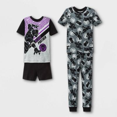 Boys' Marvel Black Panther 4pc Pajama Set - Black