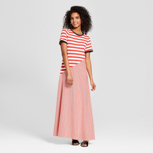 Women's Striped Short Sleeve Jersey T-Shirt Midi Dress - Who What Wear™ - image 1 of 3